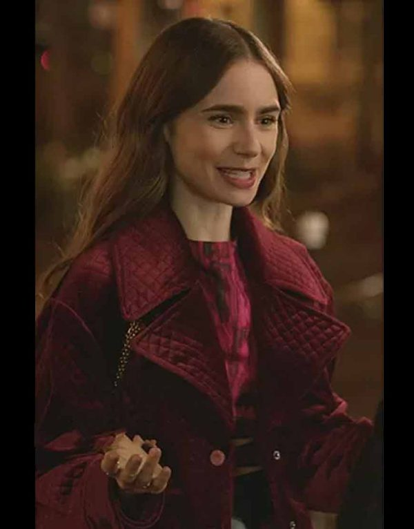 Emily in Paris Lily Collins Maroon Jacket