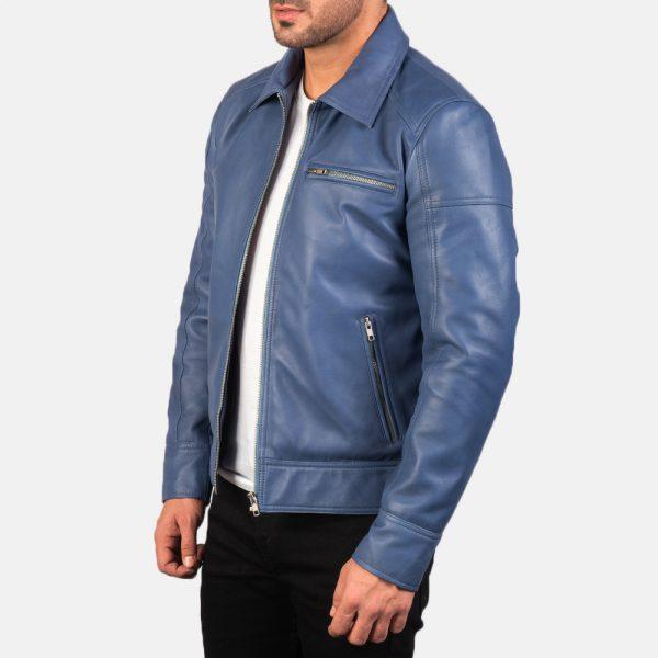 Mens Lavendard Blue Leather Biker Jacket