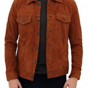 Mens Brown Suede Trucker Jacket