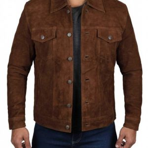 Mens Dark Brown Trucker Suede Jacket