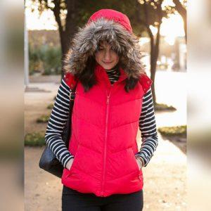 Womens Puffer Fur Hooded Vest