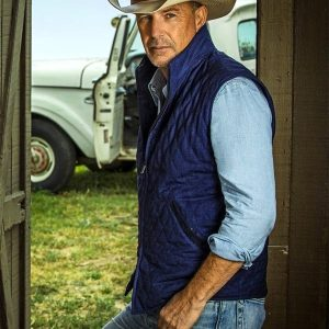 Kevin Costner Yellowstone Blue Cotton Vest